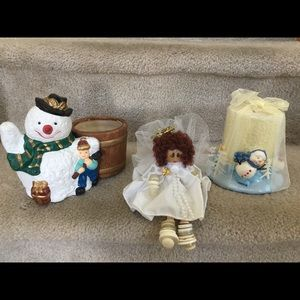 Other - Candleholder With candle/ angel/ snowman